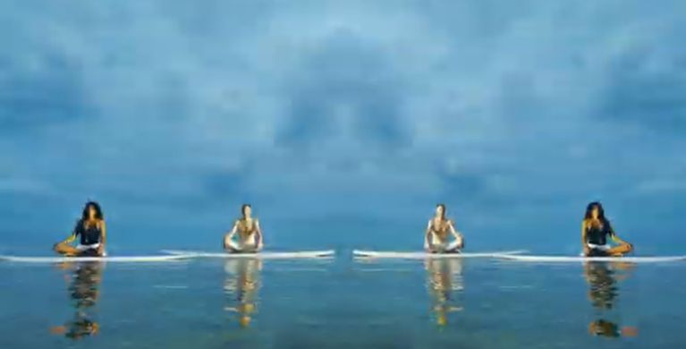 Yoga on stand up paddle