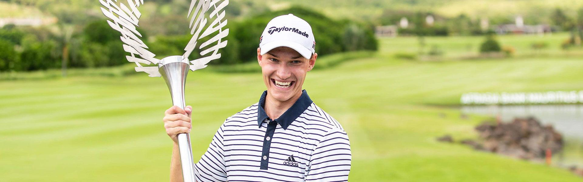 Rasmus Hojgaard winner of the AfrAsia Bank Mauritius Open 2019